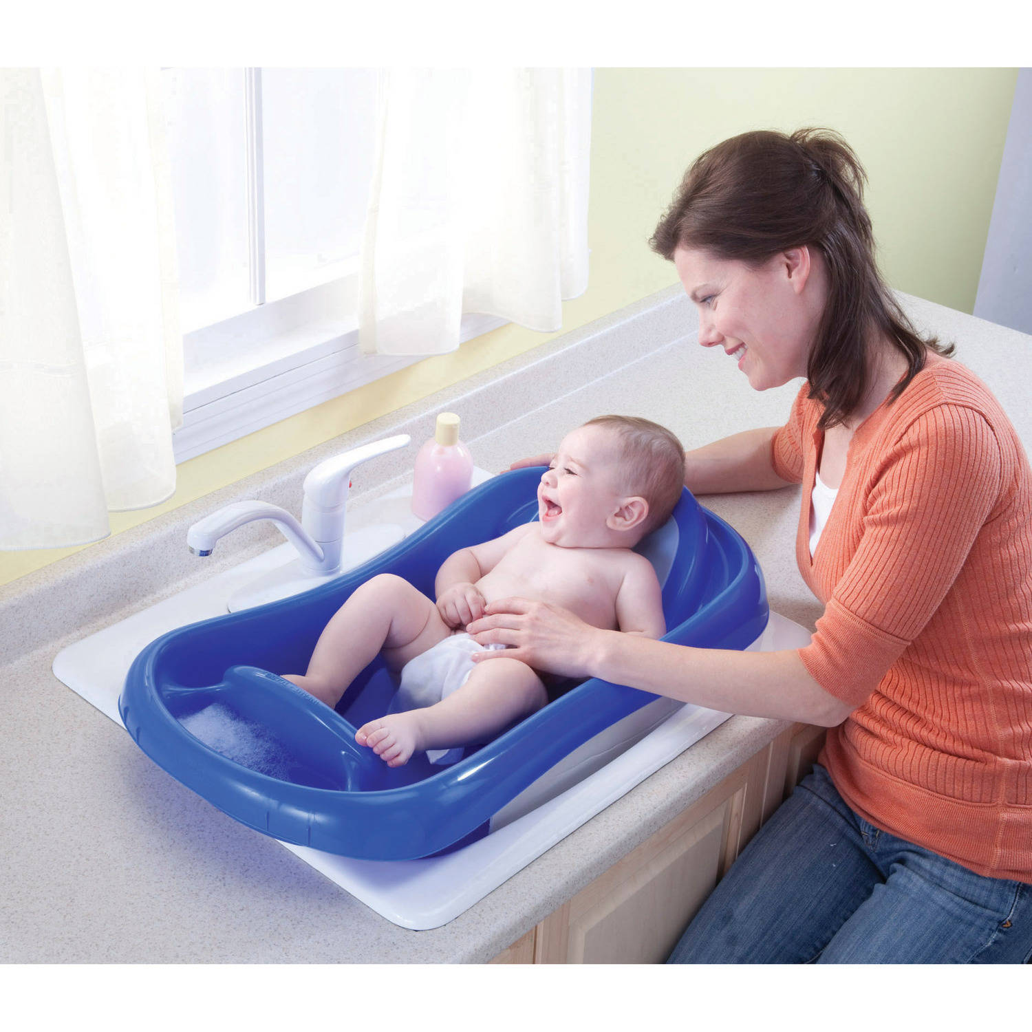 Deluxe Newborn To Toddler Tub Blue Baby Bath Tub Wsling