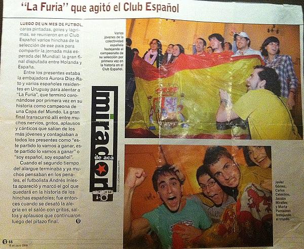 Españoles en la prensa de Montevideo durante el mundial de sudáfrica