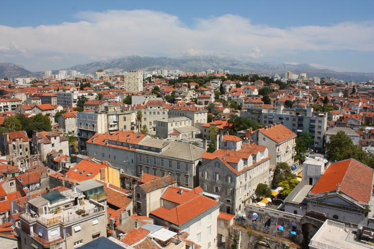 vistas de split desde la torre de la catedral