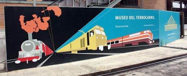 Cartel del museo del Ferrocarril