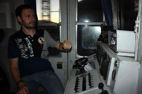 Cabina del maquinista del Tren Río Eresma