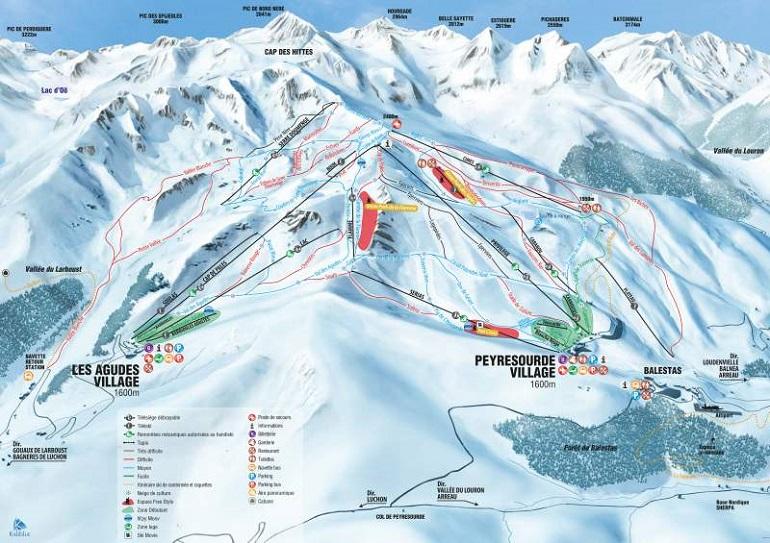 Mapa de la estación de esquí de Peyragudes