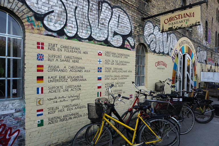 Mural a la entrada de Christiania