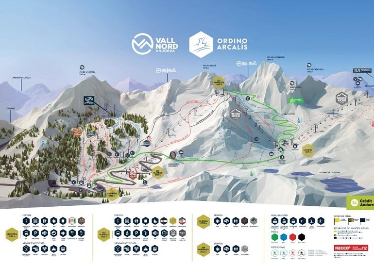 Mapa de la estación de esquí de Ordino-Arcalís