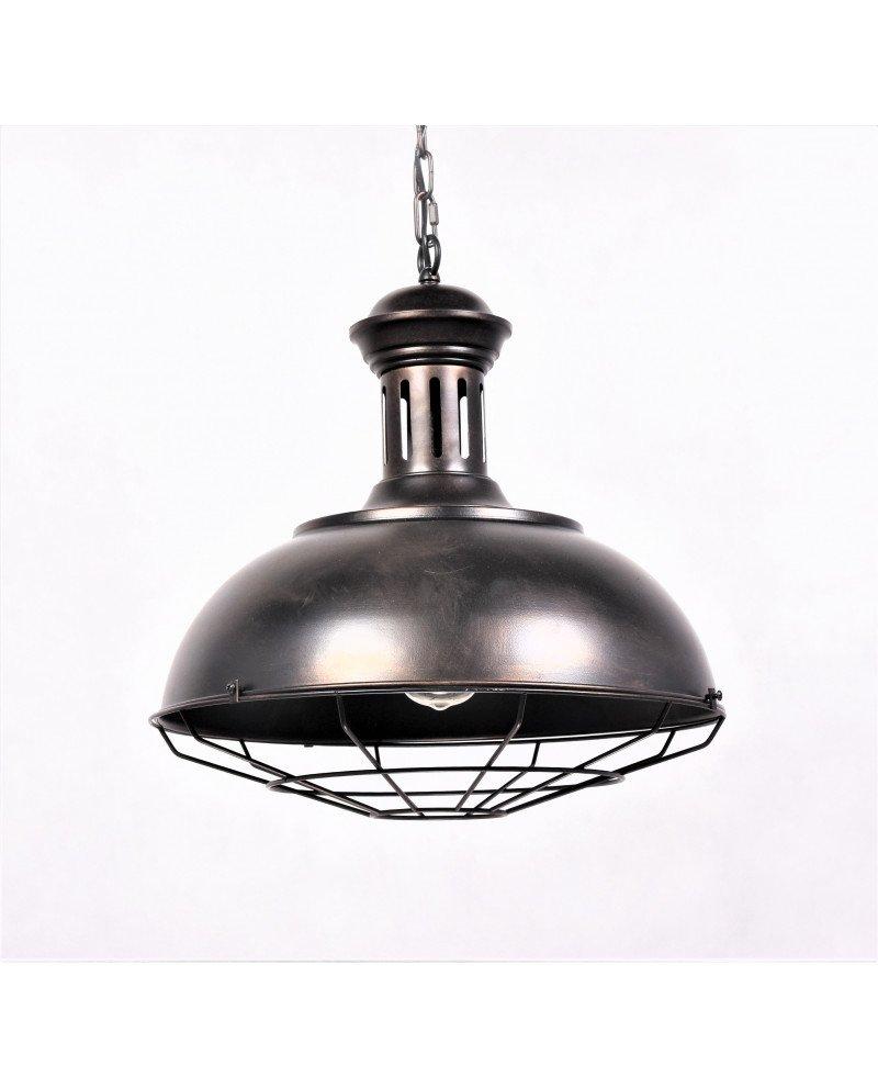 lampada a sospensione industriale vintage in ottone