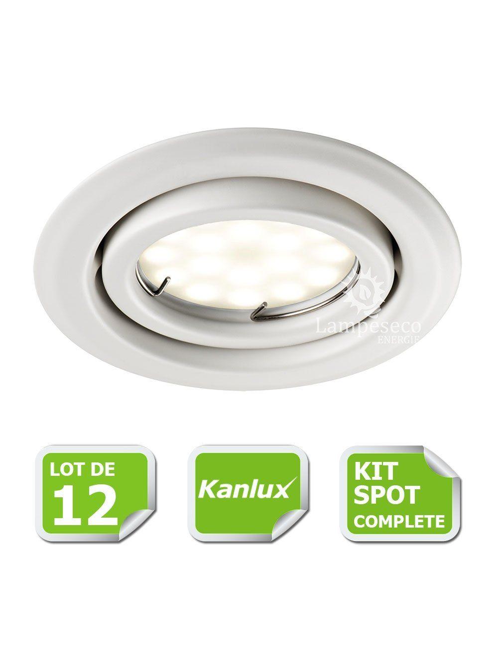 kit complete de 12 spots encastrable blanc orientable marque kanlux avec gu10 led 5w blanc chaud