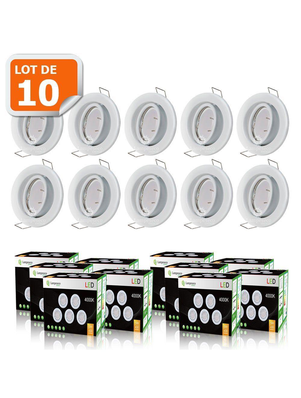 lot de 10 spot led encastrable complete orientable blanc avec ampoule gu10 230v eq 50w lumiere blanc neutre