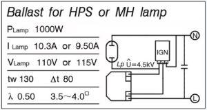 1000W high pressure sodium ballast | James lamp socket