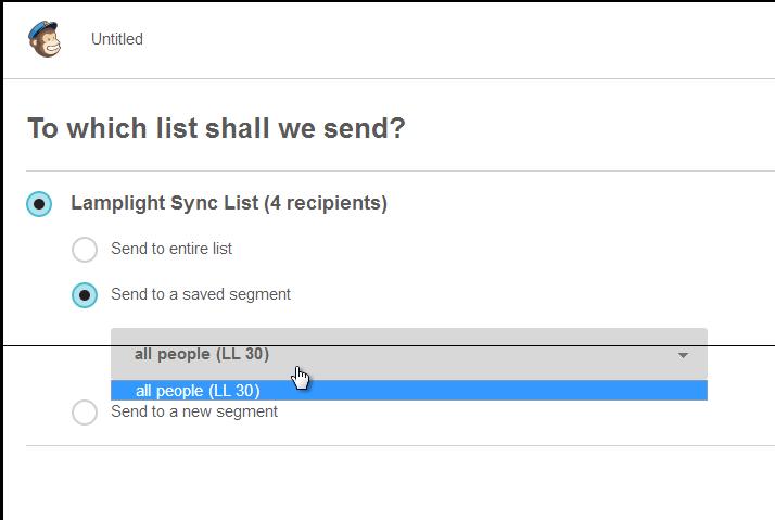Screenshot of Mailchimp create campaign