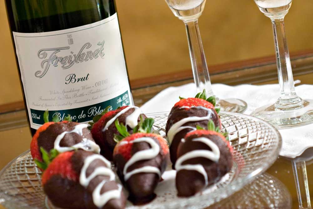 Chocolate Covered Strawberries and Wine