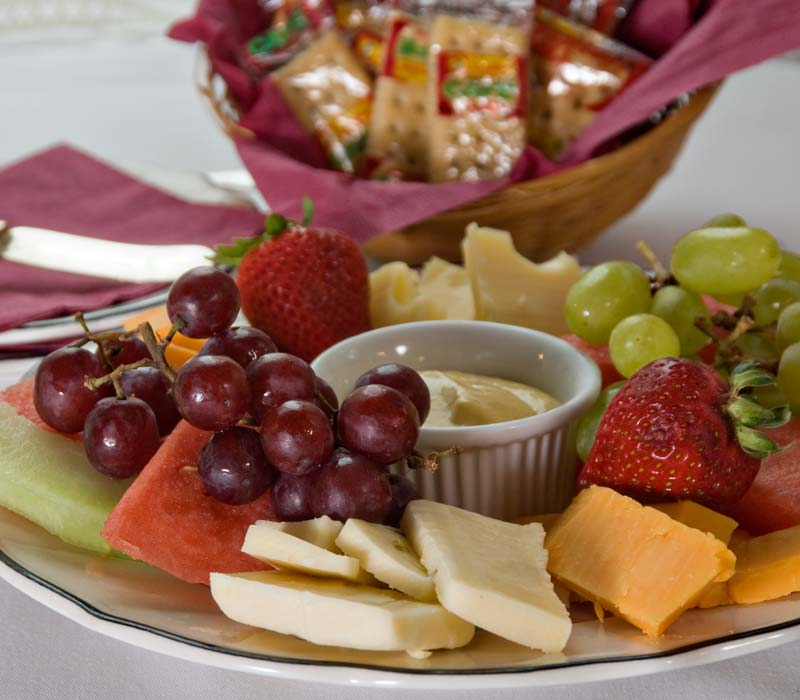 Fruit and Cheese Platter at Lamplight Inn Bed & Breakfast in Lake Luzerne