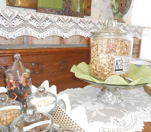 Granola on table at Lamplight Inn Bed & Breakfast near Saratoga Springs