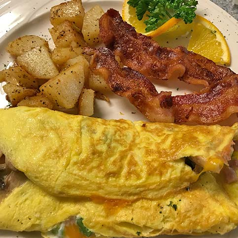 omelet at Lamplight Inn Bed & Breakfast in the southern Adirondacks