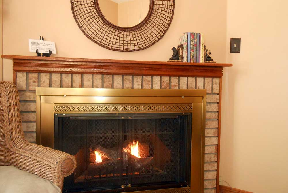 Fireplace with brick surround