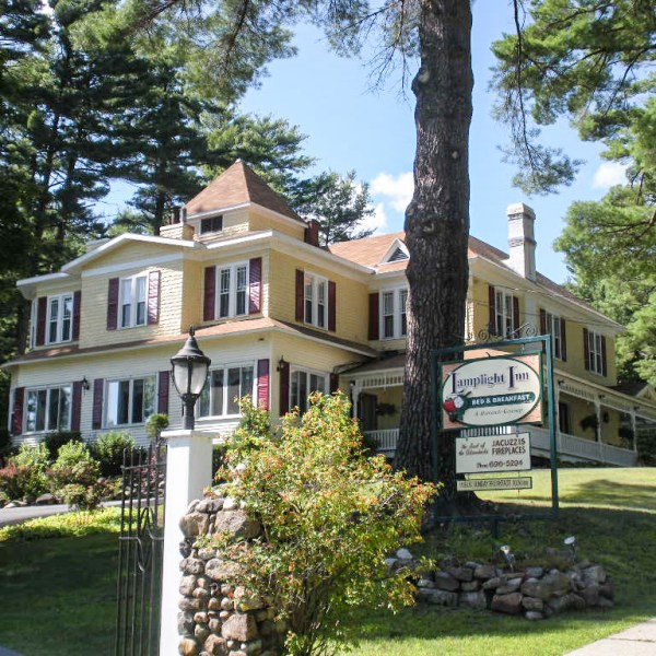 Exterior shot of Lamplight Inn Bed & Breakfast in the southern Adirondacks