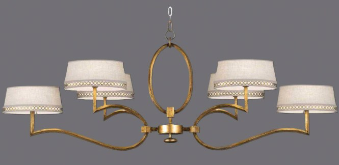 Fine Art Lamps 780040 2 Allegretto Oblong Gold Chandelier