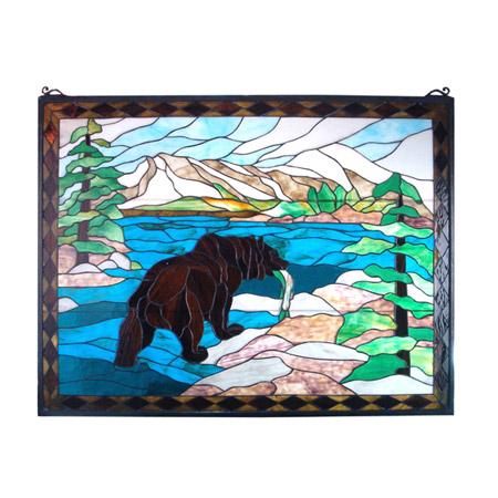 Meyda 11094 Grizzly Bear Stained Glass Window