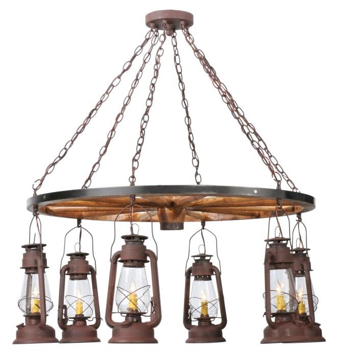 Meyda 117204 Miners Lantern Wagon Wheel Six Light Chandelier