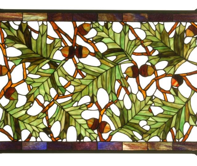 Meyda  Acorn Oak Leaf Stained Glass Window