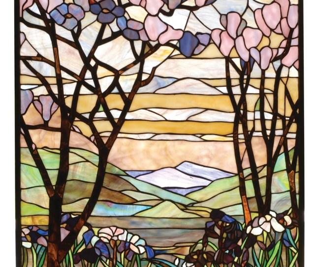 Meyda  Tiffany Magnolia Iris Stained Glass Window