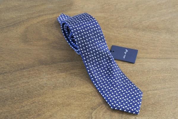 Cravatta fantasia fondo blu mod. 011