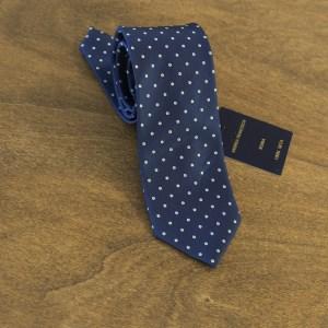 Cravatta a pois fondo blu mod. 131
