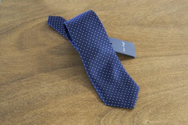 Cravatta a pois fondo blu mod. 014