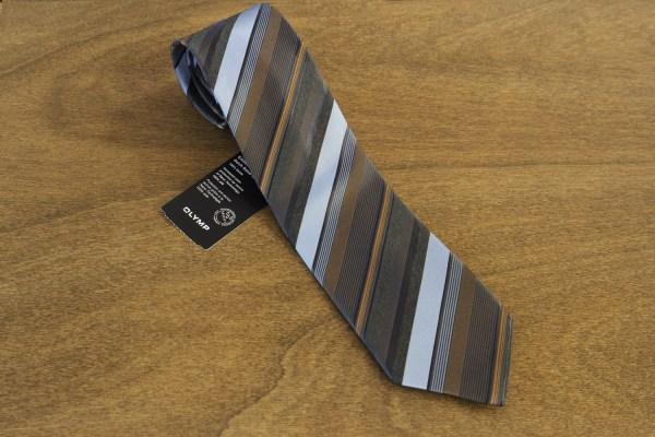 Cravatta a righe fondo marrone mod. 284