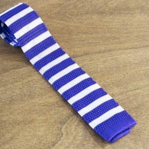 Cravatta in maglina a righe fondo viola/bianco mod. 303