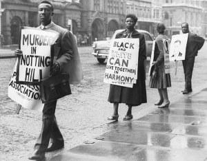 Una manifestazione di protesta a seguito dell'omicidio da cui sarebbe nato il Notting Hill Carnival