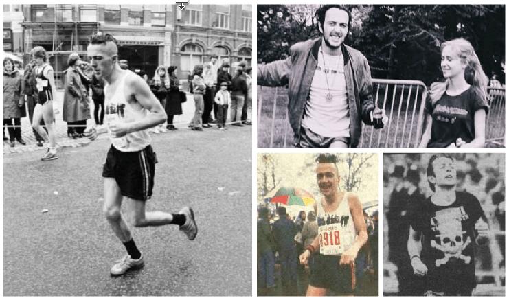 Un collage di immagini che ci mostrano Joe Strummer che corre la maratona