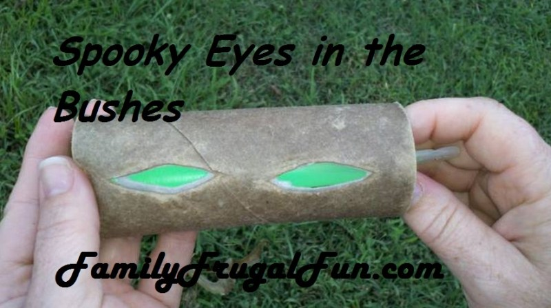 homemade halloween props glowing eyes in your bushes image1