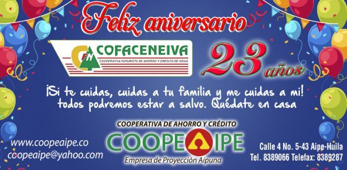 En Cofaceneiva celebramos 23 años, asumiendo retos de crecimiento social y económico  6 2 julio, 2020