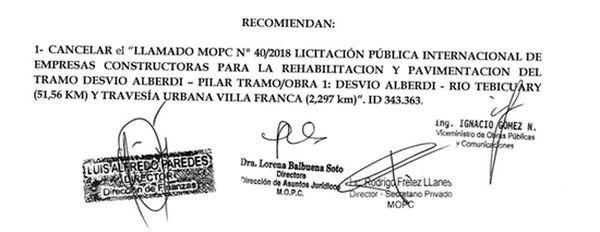 Dictamen del Comité de Evaluación de Ofertas del MOPC de fecha 6 de junio.