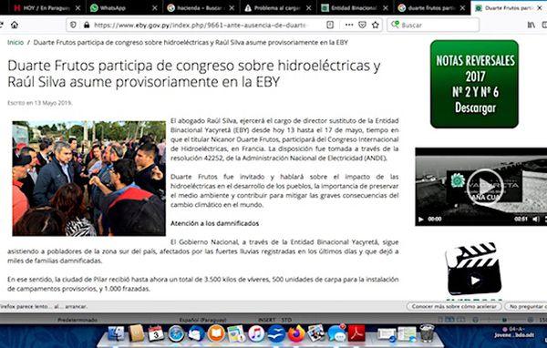 La EBY informó en su web institucional que Raúl Silva interinó la titularidad de la hidroeléctrica en mayo pasado.