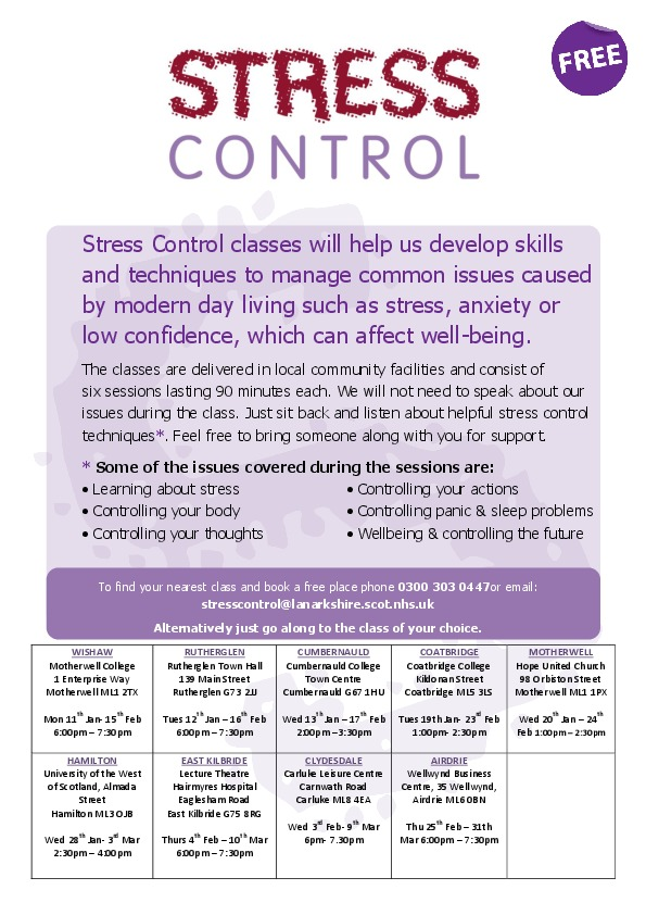 Stress Control Classes Jan-Mar 2016