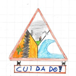 Child's drawing of a red triangle, inside are 3 drawings of a tornado, an earthquake and a blue wave. Underneath the triangle is written the word 'Cuidado' which is Spanish and Portuguese for 'take care'