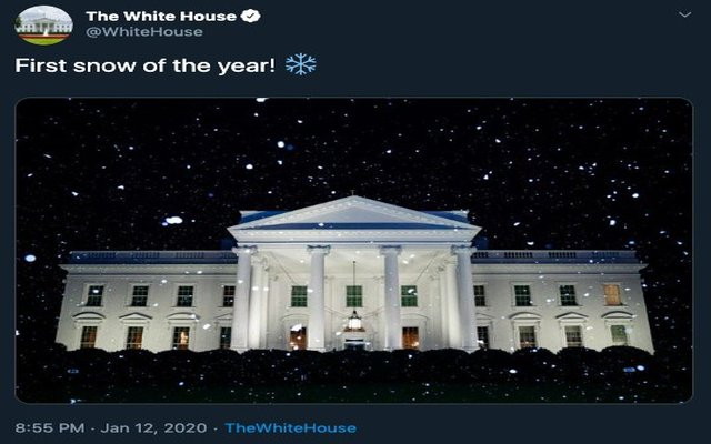 White House tweet heralds 'first snow' of 2020 – On a day when it was 53 degrees!