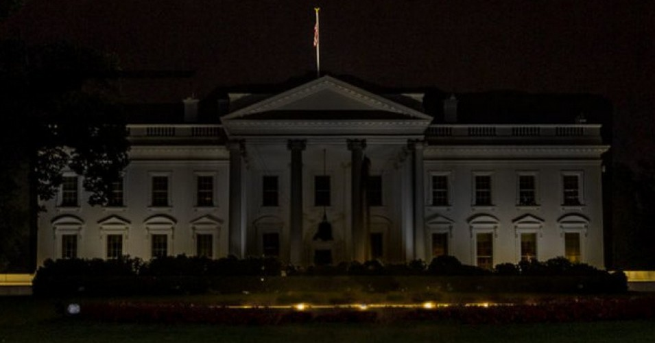 Trump pelted with mockery after the White House turns off lights as protests rage nearby