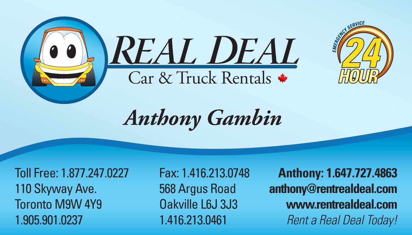 Real Deal Car & Truck Rental Business Cards – Lance Daoust