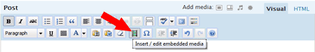 Click the option to insert/edit embedded media