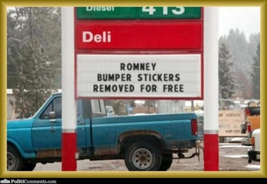Romney Sticker Removal