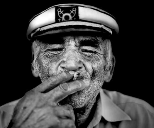 Old Drunk Smoking