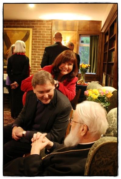 Debbie Higgens, Will Vaus, Kallistos Ware in The Kilns Library for tea -Image Copyright Lancia E. Smith - www.lanciaesmith.com
