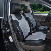 180204S Black/Grey-2 Front Car Seat Cover Cushions Leather Like Vinyl, Compatible to Toyota Yaris 4 Runner FJ Cruiser Land Cruiser Rav 4 2017-2007