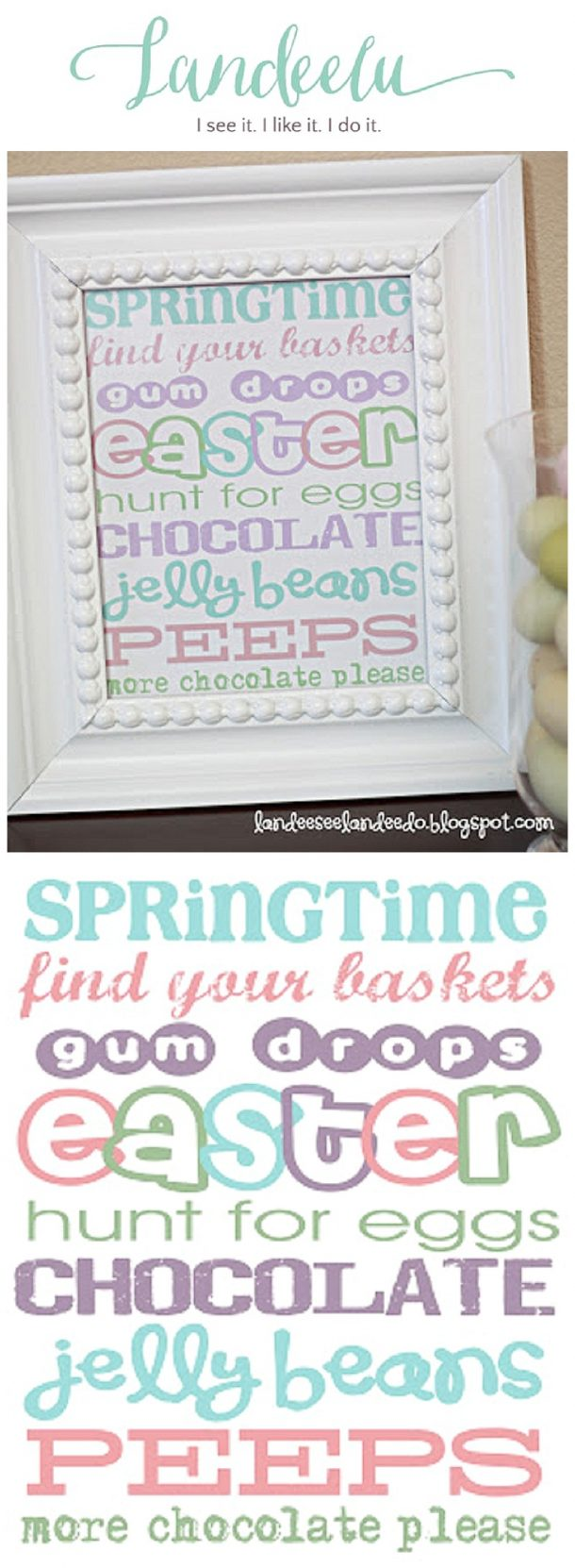 Easter Subway Art in pretty Spring Colors Ready to Frame!  Perfect addition to your Easter Decor!  FREE PRINTABLE