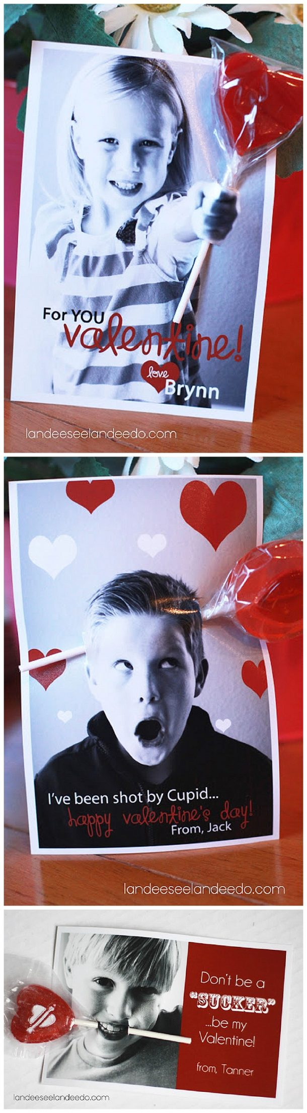 Printable Valentines - cute sucker holder