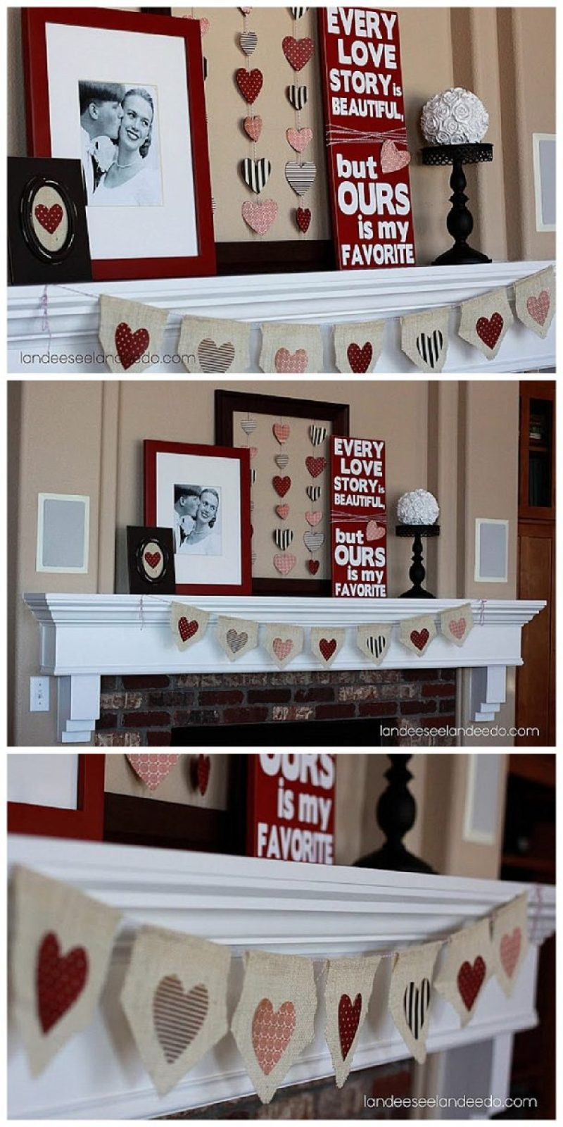 Super Cute Valentine's Day Mantel Decoration Ideas with DIY Tutorials!