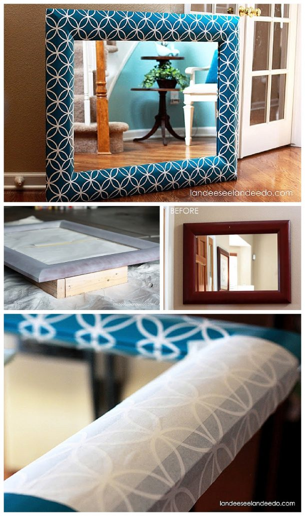 Give an old cheap mirror or picture frame a makeover using a pretty vinyl pattern! DIY Step by Step Tutorial -