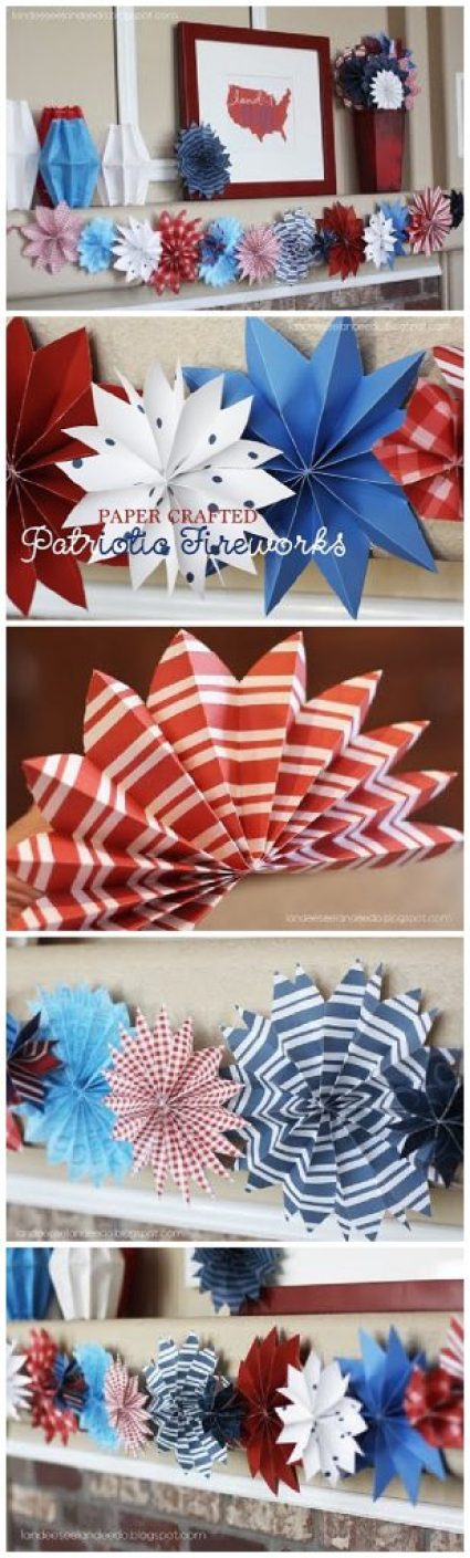 DIY Paper Red, White and Blue Fireworks - Patriotic Decorations Tutorial | Landeelu - Go through your scrapbook paper stash and pull out your red, white & blue papers. This works with cardstock as well as regular paper.